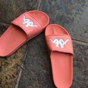 1ad51e206f2 DOLLS KILL peach slip on sandals size 7
